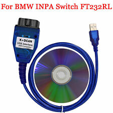 BMW INPA K+DCAN K+CAN Ediabas SSS NCS OBD2 USB Diagnostic Interface Cable + CD