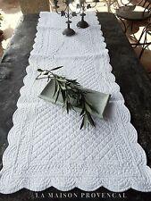 Tischläufer Baumwolle Weiß gesteppt Boutis 50x150 Provence Landhaus Shabby