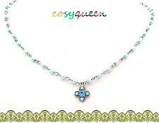 Swarovski Elements Crystal New Aquamarine Blue Clover Pearl Bead Necklace Gift