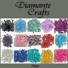 3mm Diamante Loose Flat Back Rhinestone Body Gems - Choose from 18 Colours