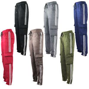 Womens Cargo Velvet Velour Fleece Stretch stripe Trousers Ladies Joggers Sport
