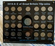 More details for 2018 a-z full set 10p coins in display case, collector's medal, empty case