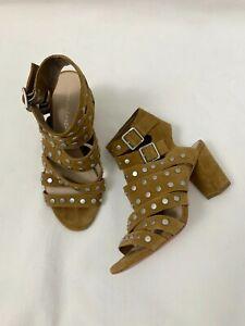 Loeffler Randall Brown Suede Galia Studded Sandals Stacked Block Heel Size 6