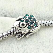 1pcs European Silver frog CZ Charm Beads Fit  925 Necklace Bracelet Chain B86