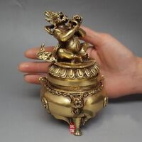China Buddhism  Vajra King Kong Mahakala Brass Statue Incense Burner Antique