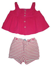 Baby Gap NWT Pink White Swing Top & Striped Shorts Set Outfit 3-6 Months $43