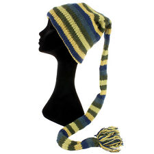 Lana Knit Tail CAPPELLO Hippy Festival Slouch Beanie Foderato in Pile Blu Verde Strisce