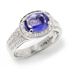 Sideways Oval Tanzanite Halo Ring with Diamonds 14K White Gold 3.00ctw East West