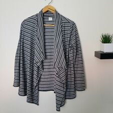 O'Neill Striped Grey White Open Cardigan Women's Size Small