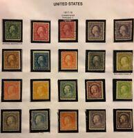 1917-19 US Stamps # 498-518 VF OG H Set- Just 1 Used Cv $500-600