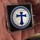 Freemason Knight's Templar BLUE Cross Collectible Challenge Coin w Case SP54