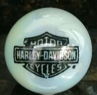 Unique Harley Davidson Black Bar & Shield Logo on White Pearl Iridescent Marble