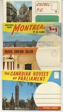 4 Vintage 1960's Fold-Out Postcard View Books: OTTAWA, MONTREAL, QUEBEC, CANADA