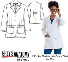 Grey's Anatomy Women's 7446 2 Pocket Medical Lab Coat -New-Free Ship
