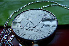 """USA PROOF IKE DOLLAR Coin Bezel Pendant on a 20"""" .925 Sterling Silver Chain"""