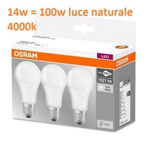 set da 3 pezzi OSRAM LED E27 14W 100W luce naturale 4000k lampadina goccia