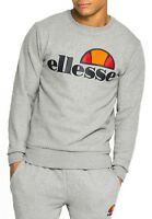 ellesse Mens Cotton Crew Neck Print Logo Sweatshirt Athletic Grey Sweat Top