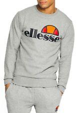ellesse Mens Cotton Crew Neck Print Logo Sweatshirt Athletic Grey Sweat Top