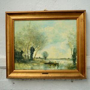 French Artist Print Jean-Baptiste-Camille Corot Gilt Landscape Oil Painting