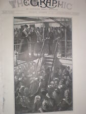 Queen Mary as Princess of Wales birthday aboard HMS Ophir 1901 old print