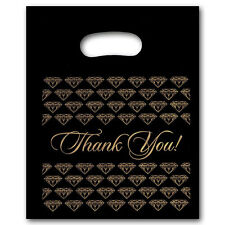 NEW 400/PLASTIC BLACK  jewelry Thank You gift Bag (Sm.)
