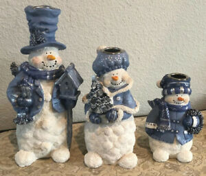 Family of 3 Resin Snowman Candle Holders Christmas Blue/White Dad Mom Child