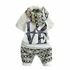 3pcs Newborn Infant Baby Boy Girl Kids T-shirt Tops+Pants+Hat Outfit Clothes Set