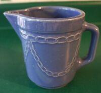 Vintage Monmouth Western Stoneware Pottery Pitcher,Chain Link Drape Pattern Blue