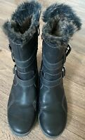 Tamaria Leather Biker Style Fur Lined Zip Up Boots Uk7 Eu 40