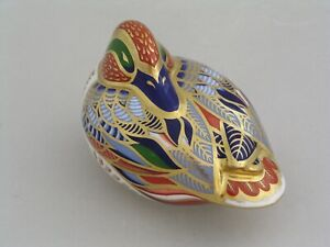 ROYAL CROWN DERBY TEAL DUCK PAPERWEIGHT PAPERWEIGHT, GOLD STOPPER.