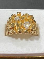 18 gold plated estate jewelry New listing mens nugget ring Cz