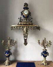 Monumental Imperial Clock Candelabras Garniture Set Rare Cobalt Blue Colour