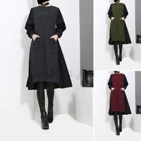 UK Women Long Sleeve O Neck Dress Ladies  Knee Length Casual Loose Baggy Dresses