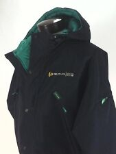 JOHN DEERE Jacket Black w Quilted Green Lining Hooded Barn Coat Mens L RARE