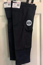 Izod Boys Flat Front Chino Pants Uniform Double Knee 2 Pair Navy Size 4 Nwt