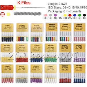 6pcs Dental Endo Root Canal Files Stainless Steel K-Files Hand 15#-80# 25/21mm