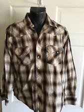 Vtg Wrangler Western Plaid Pearl Snap Shirt Metallic Silver Thread Rockabilly L