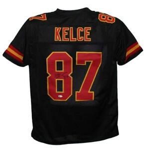 Travis Kelce Autographed/Signed Pro Style Black XL Jersey BAS 30085