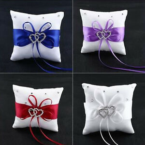 Bridal Wedding Ceremony Ring Bearer Pillow Cushion Crystal Double Heart Q