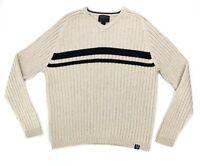 American Eagle Men's Size Large Sweater Cotton Wool Blend Beige Long Sleeve