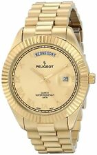 Peugeot 14K All Gold-Plated Day-Date Roman Numeral Stainless Steel Watch