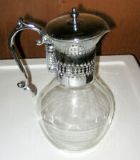 Silver Metal Coffee Serving Glass Carafe with Lid