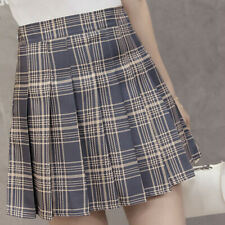Women Checked Mini Skirts High Waist Pleated Plaid Short Skirt Girl College Wear