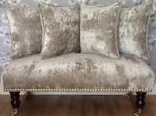 Long Footstool Stool & 4 Cushions In Laura Ashley Caitlyn Sable Velvet Fabric
