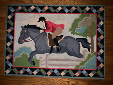 New listing Vintage CLAIRE MURRAY Equestrian Horse Jockey HOOKED RUG 100% wool 34 X24 1/2