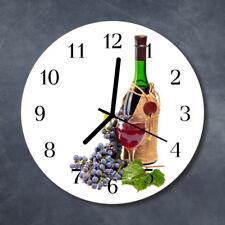 Glass Wall Clock Kitchen Clocks 30 cm round silent Wine Grapes Multi-Coloured