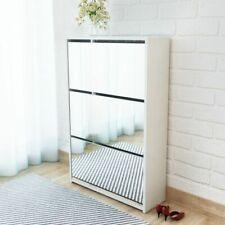 vidaXL Shoe Cabinet 3-Layer Mirror White 63x17x102.5 cm Storage Organizer Rack