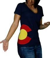 C List Colorado Flag V-Neck Hipster T-Shirts, Womens MSRP $25