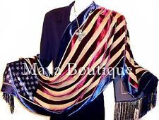 American USA Flag Silk Burnout Velvet Shawl Wrap With Fringes Maya Matazaro