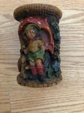Vintage German Hand Carved Candle Boy Holding Umbrella And Girl In Window